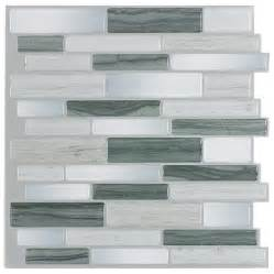peel stick backsplash tiles shop peel stick mosaics grey mist linear mosaic composite