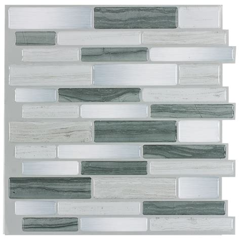 Peel And Stick Wallpaper Tiles | shop peel stick mosaics grey mist linear mosaic composite