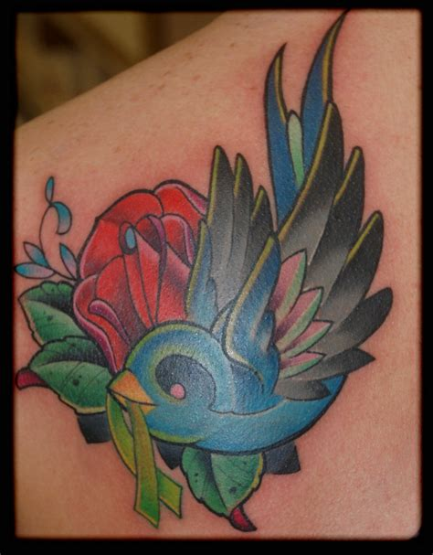 rose ribbon tattoo designs and bird designs