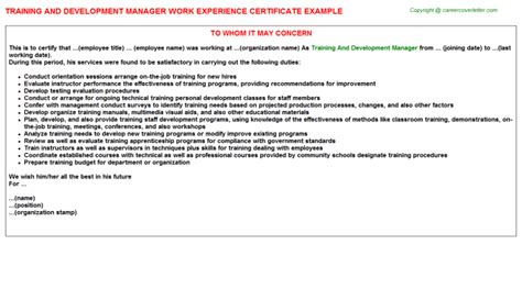 Work Experience Certificate For Business Development Executive and development manager work experience
