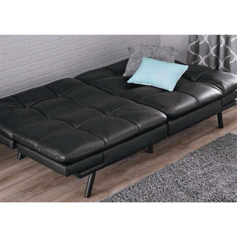 futon sofa mainstays memory foam mattress black faux leather futon