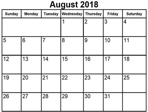 August 2018 Calendar Template Free Calendar Template Letter Format Printable Holidays Usa August 2018 Calendar Template