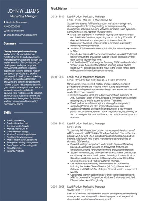 resume template marketing marketing cv exles and template