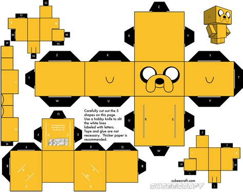 Papercraft Adventure Time - here s a printable papercraft jake courtesy of cubeecraft