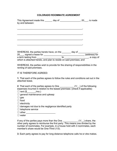 free printable lease agreement for roommates free colorado roommate room rental agreement template