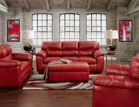 austin red sofa  loveseat leather living room sets