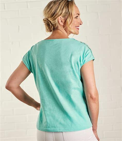 Sleeve Crochet T Shirt turquoise cotton womens crochet sleeve t shirt
