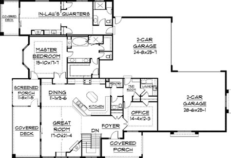 home floor plans with mother in law quarters plan 9517rw in law quarters a plus craftsman pantry and plan plan