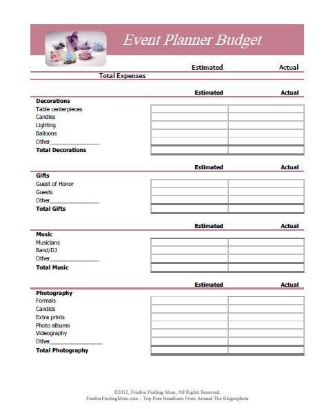 free event planner template free printable budget worksheets