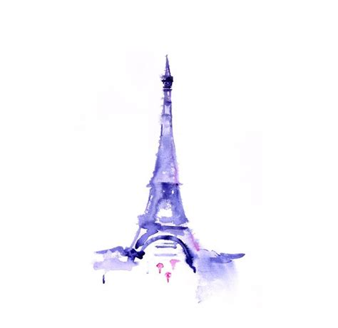 eiffel tower original painting watercolor abstract illustration home wall decor