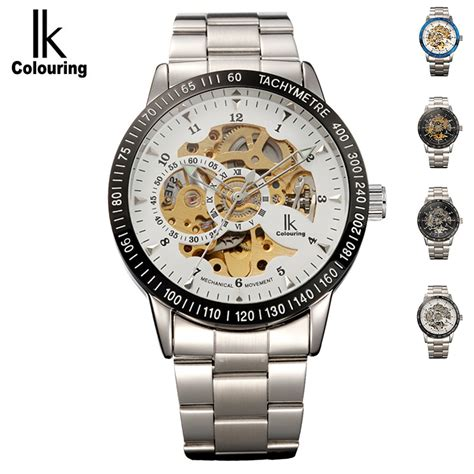 Jam Luxury S Skeleton Stainless Steel Transparent Hollow Leather W ik colouring stainless steel luminous automatic mechanical watches brand luxury transparent