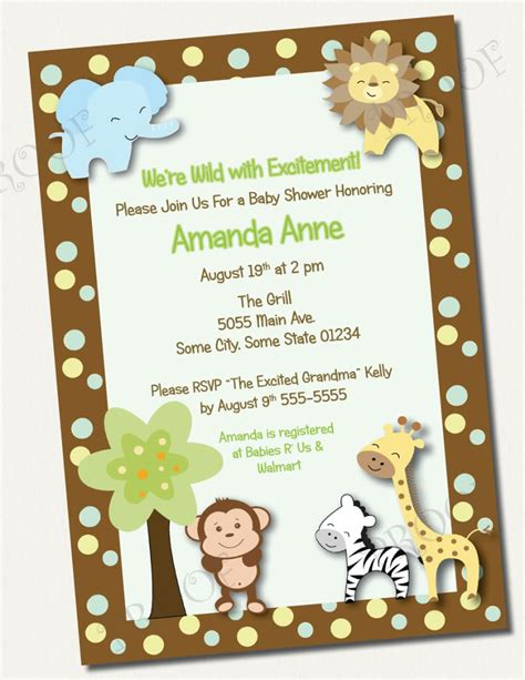 Baby Shower Theme Invitations by 4 Brilliant Free Printable Safari Baby Shower Invitations