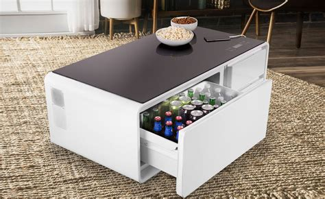 the sobro smart coffee table has a built in fridge and