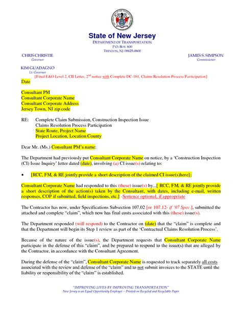 Construction Claim Template 12 best images of notice of claim letter sle
