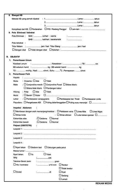 format asuhan keperawatan rawat inap contoh format rekam medis kebidanan assesmen khusus