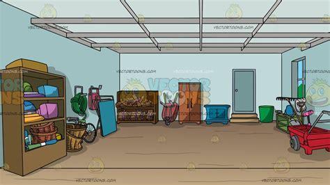 organized garage background clipart cartoons