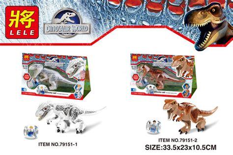 Lele Dinosaur World Jurassic World lele 79151 2pcs sets dinosaur jurassic world indominus rex