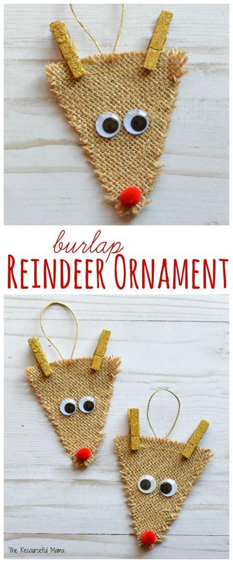 burlap reindeer ornament the resourceful mama