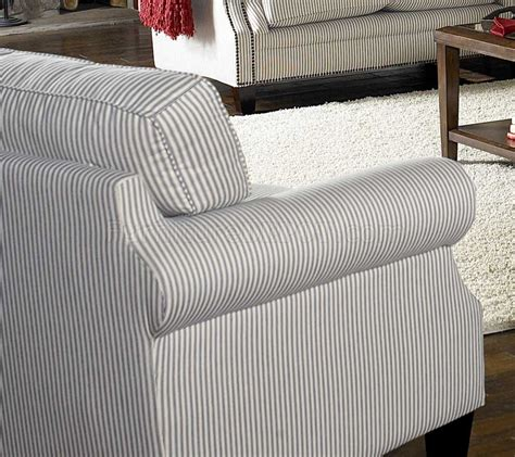 white blue striped fabric cottage style sofa loveseat set