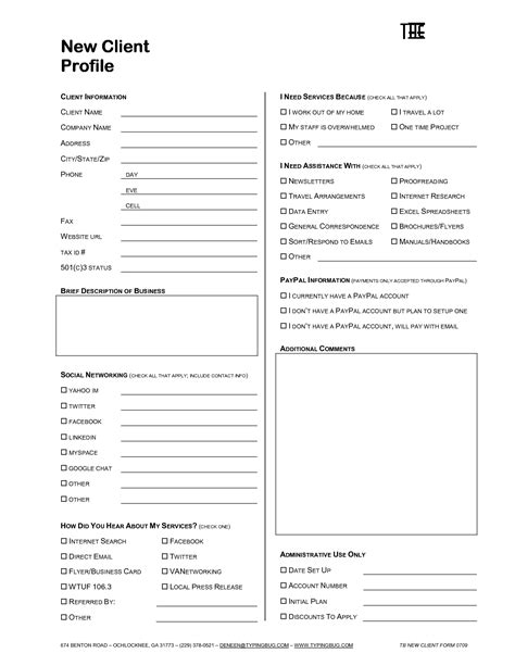 profile sheet template 10 business client information