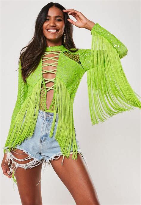 lime sequin tassel fishnet bodysuit missguided