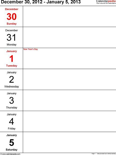 printable word templates printable weekly calendar 2013 online calendar templates
