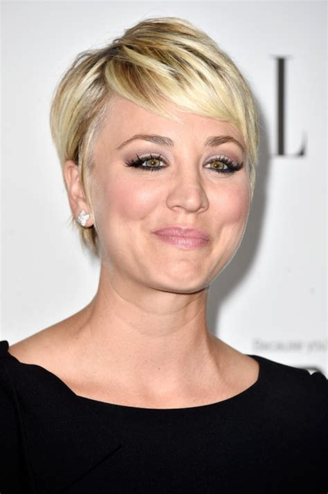 kaley cuoco updo haircut 20 stunning looks with pixie cut for round face