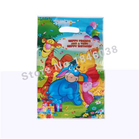 Goodie Bag Resleting Banner Winnie The Pooh 1 12pcs loot bag for birthday festival decoration winnie the pooh theme supplies