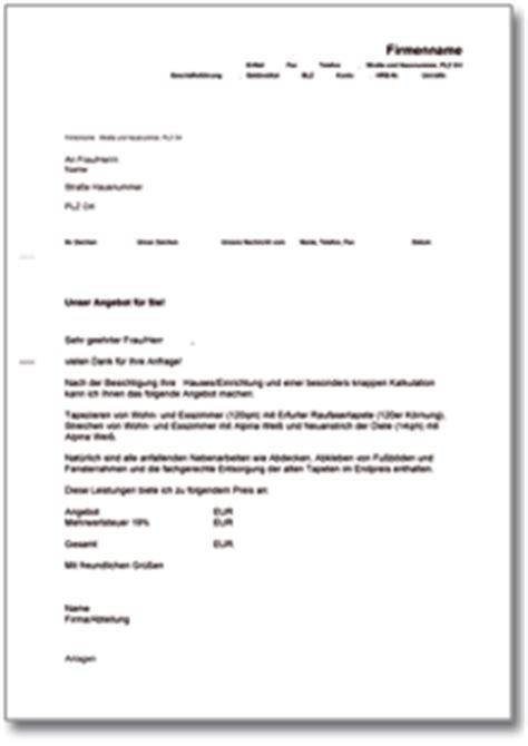 Musterbrief Anschreiben Angebot Angebot Handwerker Muster Vorlage Zum