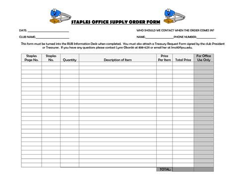 Office Supply Order Form Template
