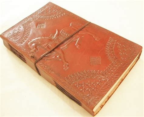 Handcrafted Journal - handcrafted embossed brown leather bound journal