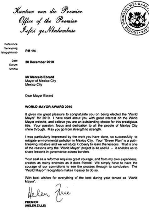 Scholarship Letter To Mayor World Mayor Letters 2010