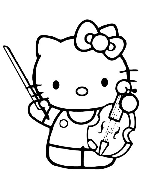 playing violin coloring page hello kitty playing violin instrument coloring page h