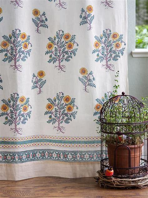 Floral curtain panel, French, Cream   Saffron Marigold
