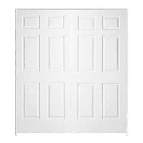 home depot double doors interior jeld wen 72 in x 80 in textured 6 panel hollow core primed molded double prehung interior door