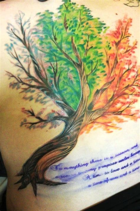 watercolor tattoo vacaville joes in vacaville ca a tree with all the seasons