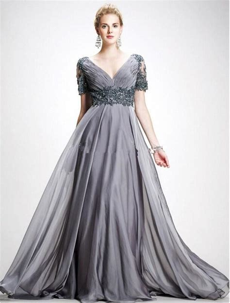 Xy61763 V Neck Chiffon Dress Gray new plus size of the dress gray v neck