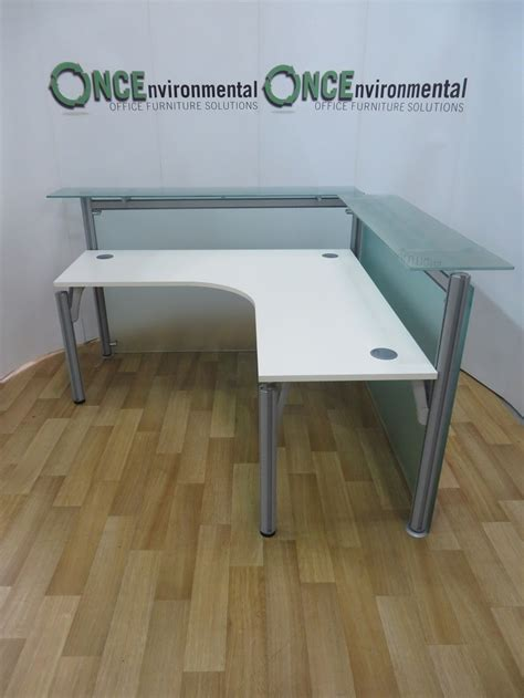 Glass Reception Desk Used Desks Frosted Glass Reception Desk 1600w X 1600d