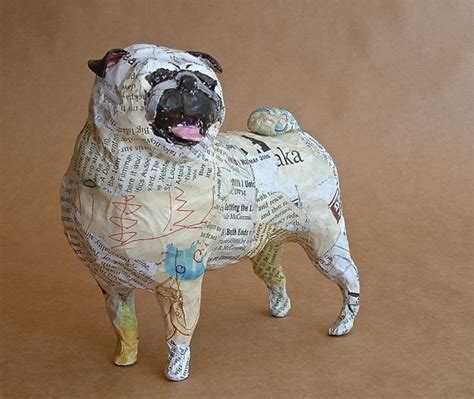 How To Make A Paper Mache Statue - pug unique whimsical paper mache sculpture custom