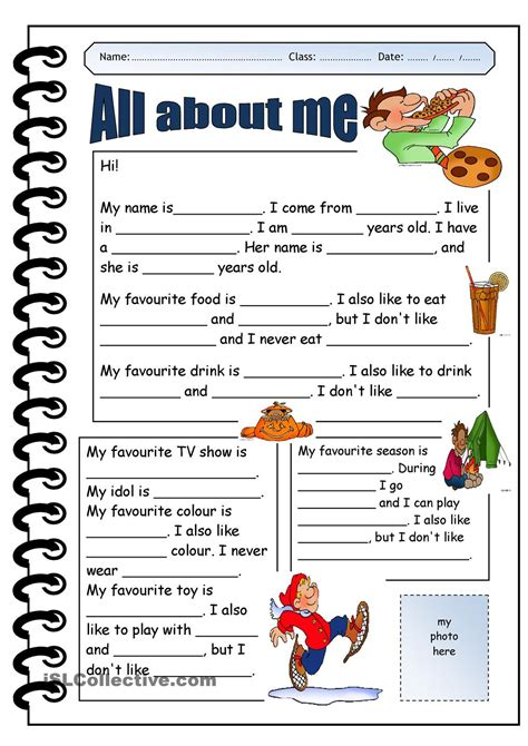 themes about english all about me printable worksheets google search