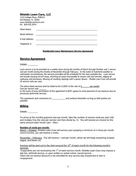 Contract Lawn Care Contract Template Simple Lawn Care Contract Template