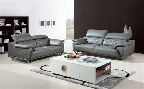 Divani Casa Wolford Modern Grey Leather Sofa Set Modern Modern Sofa Living Room