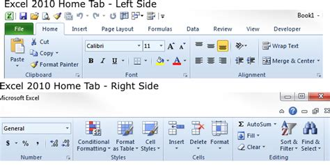 excel 2010 styles and themes online pc learning how to ribbon home tab comparison excel 2010 windows