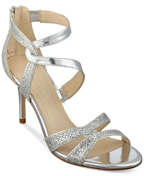 silver sandal marc fisher silver lexcie evening sandals lyst