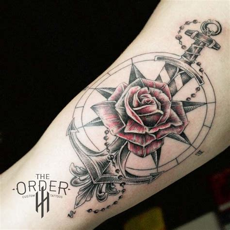 rose and sword tattoo compass anchor sword the order custom