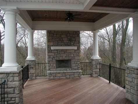 Backyard Products Llc Covered Porch With Stone Fireplace