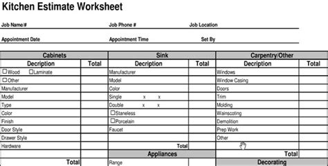 kitchen cabinets estimate estimate sheet classic job estimate sheet for contractors