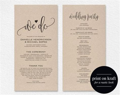 Diy Wedding Programs Template Invitation Template Diy Wedding Program Template