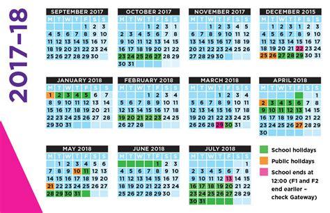 Calendar 2018 School Holidays School Calendar 2017 2018 Templates
