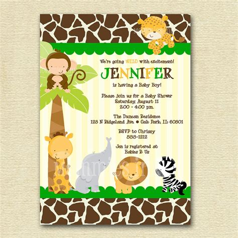 Giraffe Print Baby Shower Ideas by Modern Jungle Safari Giraffe Print Baby Shower Invitation